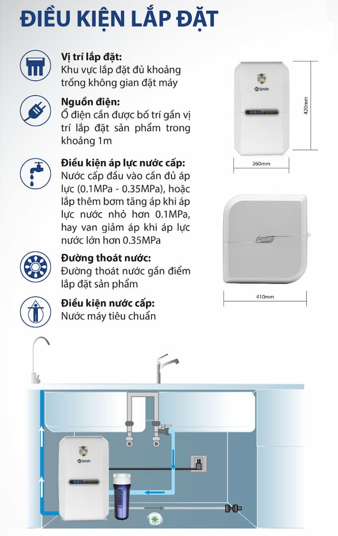 Điều kiện lắp đặt máy lọc nước AO Smith E2