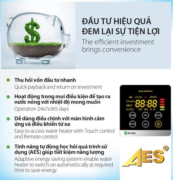đầu tư hiệu quả từ máy nước nóng tích hợp AO Smith