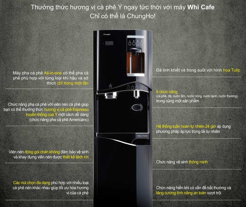 thiết kế đa năng của máy lọc nươc spha cafe chungho