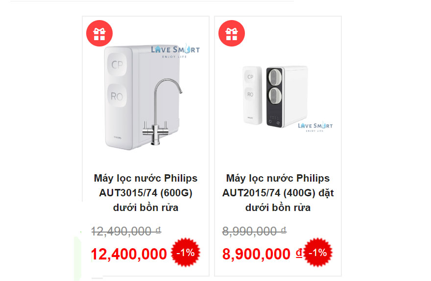 Về giá cả và bảo hành máy lọc nước Philips